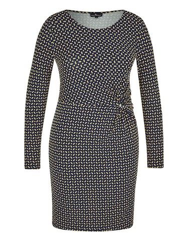 Produktbild zu Jersey-Kleid mit Knoten-Detail und Allover-Druck von Via Cortesa