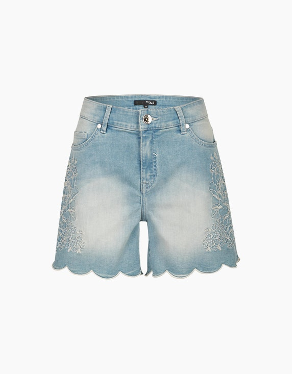 MY OWN Jeans-Shorts mit floraler Stickerei in Light Blue Denim | ADLER Mode Onlineshop