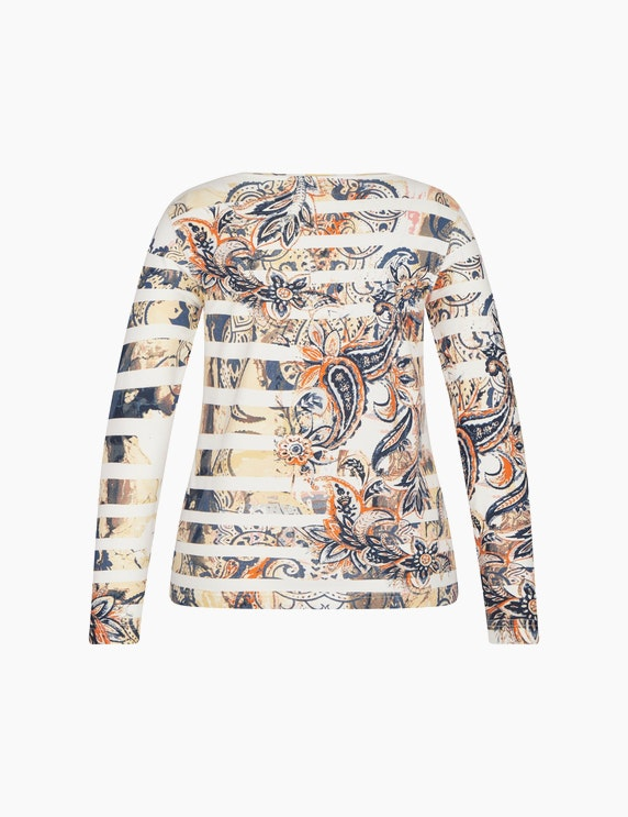 Bexleys woman Langarmshirt mit Streifen und Paisleymuster | ADLER Mode Onlineshop