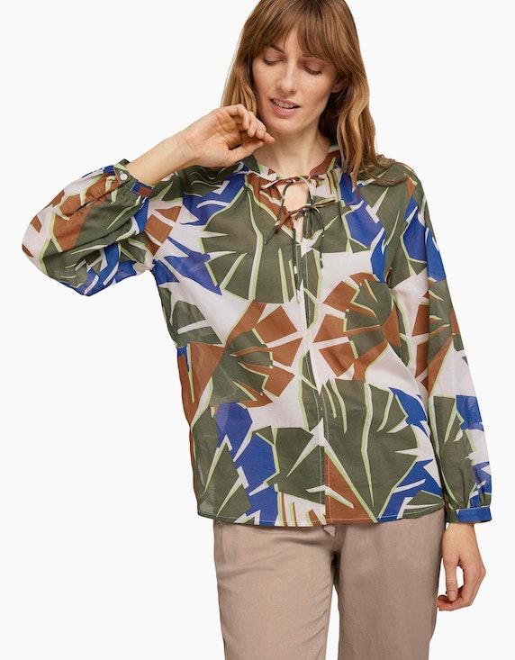 Tom Tailor Gemusterte Bluse mit Bindedetail   ADLER Mode Onlineshop