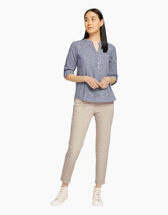 Tom Tailor Struktur-Bluse mit Henley-Kragen   ADLER Mode Onlineshop
