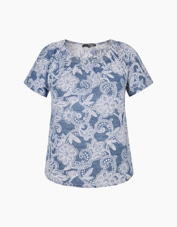 MY OWN Shirt mit Allover-Blumenmuster in Blau/Weiß   ADLER Mode Onlineshop