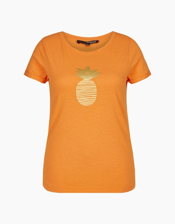 MY OWN Shirt mit goldfarbenem Ananas-Folienprint in Orange | ADLER Mode Onlineshop