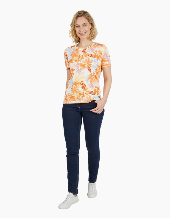 Steilmann Woman Shirt im Material-Mix in Apricot/Ecru/Blau   ADLER Mode Onlineshop