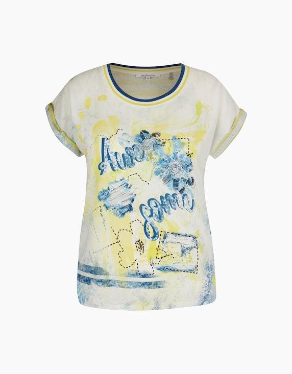 Steilmann Woman Shirt im Material- und Muster-Mix in Weiß/Blau/Gelb | ADLER Mode Onlineshop