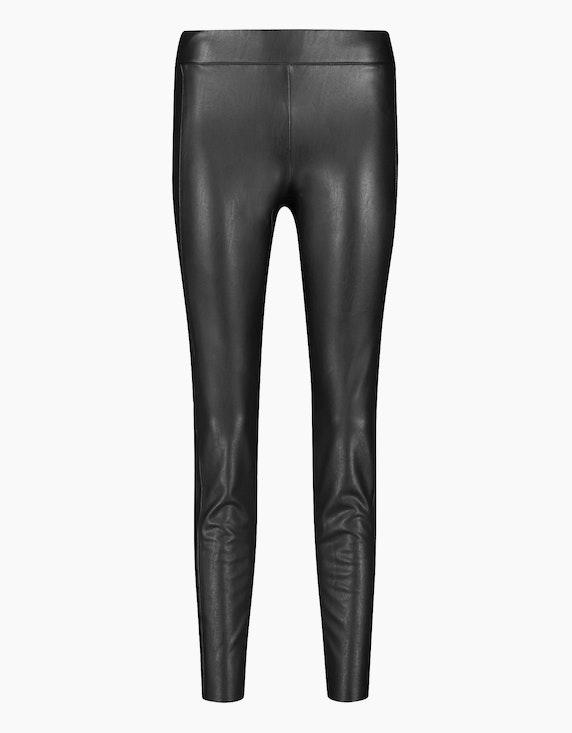 Gerry Weber Edition Hose in Lederoptik Slim Fit in Schwarz | ADLER Mode Onlineshop
