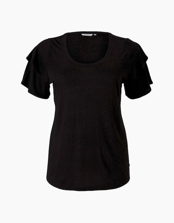 My True Me T-Shirt mit Rüschenärmel in Schwarz   ADLER Mode Onlineshop