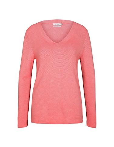 Produktbild zu <strong>Pullover mit Streifen-Struktur</strong>reine Bio-Baumwolle von Tom Tailor