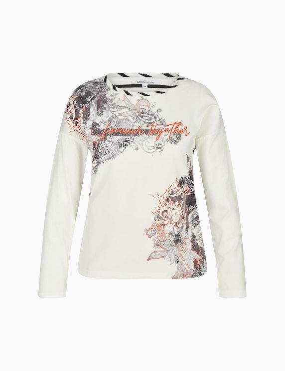 Steilmann Woman Shirt im Material- und Muster-Mix in Weiß/Schwarz/Grau/Orange | ADLER Mode Onlineshop